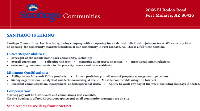 Santiago Communities is Hiring